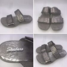New Skechers Size 2 35 Pewter Reggae Slim Redondo Slide Sandals Womens