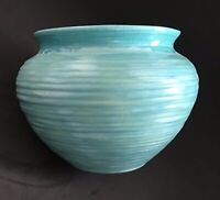Signed JJS Studio MCM Pottery Bullet Vase Planter Ribbed Cache Pot Teal Glaze