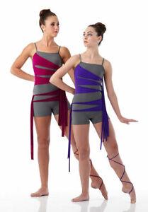 Child Large RIBBONS Contemporary Ballet Dance Costume Acro Biketard PINK