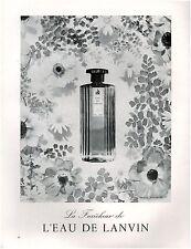 ▬► PUBLICITE ADVERTISING AD Parfum Perfume LANVIN eau Thevenet1958