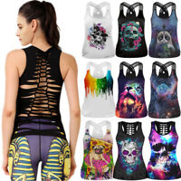 Women Gym Tank Sports Fitness Shirt Yoga Top Workout Sleeveless Cross Back Vest