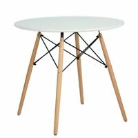 Kitchen Dining White Round Coffee Modern Leisure Wood Tea Table Conference Desk