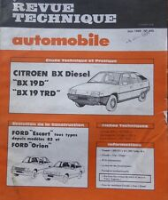 Revue technique CITROEN BX 19 D TRD DIESEL RTA 445 1984 + FORD ESCORT + ORION