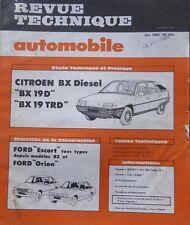 Revue technique CITROEN BX 19 D TRD DIESEL RTA 445 1984 + FORD ESCORT + ORION