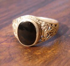 Silver and agate men's ornate ring UKY  US121/4