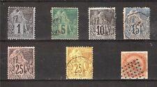 pim1010 FRANCE 7timbres anciens 1877/78: colonies poste et empire