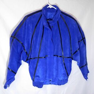 COMINT Blue Suede Leather Jacket Woman's Size Large  L From Argentina