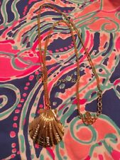 "🌊 NWOT LILLY PULITZER NECKLACE Gold Scallop Seashell w Sparling Crystals 30"" 🐬"