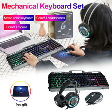 3-In-1 Keyboard Mouse Headset Mechanical Gaming Keyboard Set USB Cable