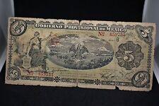 MEXICO GOBIERNO PROVISIONAL OF MEXICO NOTE M-3972 5 PESO 1914  #289
