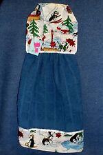 **NEW** Handmade Penguins & Winter Sports Blue Hanging Kitchen Hand Towel #1419