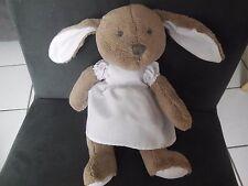 doudou peluche lapin marron beige robe blanche JACADI 26cm