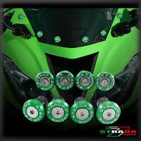 Strada 7 CNC Windscreen Bolts M5 Wellnuts Set Kawasaki ZRX1100 / 1200 Green