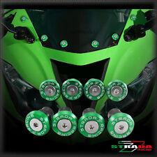 Strada 7 CNC Windscreen Bolts M5 Wellnuts Set Kawasaki ZX10R 2004 - 2015 Green