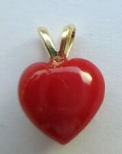 D051  - Big Red Aka Coral Heart w/14kt. Rabbit Ear Baie - 12mm - Genuine Coral