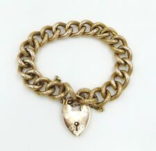 Victorian 9ct Rose Gold Curb Link Day & Night Bracelet With A Padlock