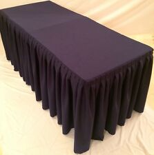 6' Fitted Polyester Double Pleated Table Skirt Cover w/Top Topper Wedding Purple