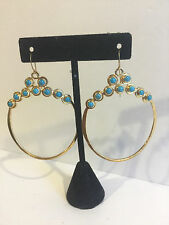 Hallmarked Rebecca Norman 925 Silver Vermeil Turquoise Cascade Circle Earrings