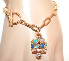 PULSERA mujer oro dorado piedra colgante verde azul brazalete armband G48