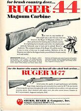 1972 Print Ad of Sturm Ruger Model 44 Magnum Carbine & M-77 M77 Deer Rifle