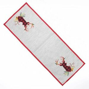 """St Nicholas Square Deer 36"""" Table Runner Woodland Retreat Gray & Red NEW"""