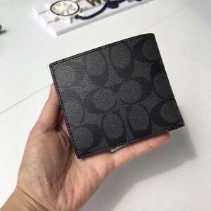 Coach Men's COACH F75006 Coin Case/Wallet Black Authentic