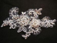 Ivory beaded sequins floral lace Applique bridal wedding lace motif 18.5x10.5cm