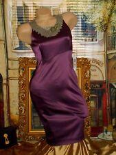 USA 2 Bodycon Dress Stretch Satin Purple Mauve Silver Mesh Rhinestones NWT