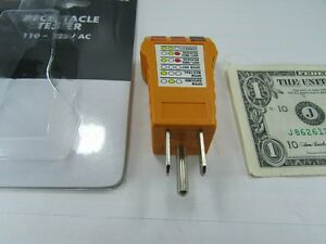 New NSI Electrical Wall Outlet Receptacle Tester Fault Color Coded Plug 110 125V