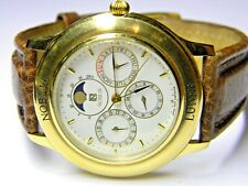mens Citizen Noblia Triple Calendar Day Date Month Moon Phase Gold Plated watch