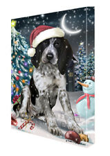 Holly Jolly Christmas Bluetick Coonhound Dog in Holiday Canvas Wall Art T18