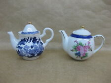 2 Miniature Teapots Regal China ~ Willow Pattern & Floral ~ Regal Collection