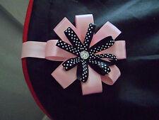 Pink & Black Crystal Magnetic Pram Hood Charm Romany Bling Style Rosette