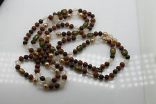 Vintage antique red brown clear glass smooth facet flapper length Deco necklace
