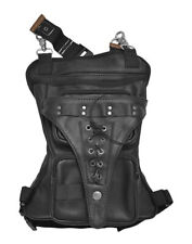 Tennessee Leather Conceal and Carry Black Leather Thigh Bag with Waist Belt 2218