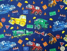 Navy Blue Work Zone, Construction Vehicles by timeless Treasures, 100% Cot, 2 M