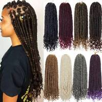 "16"" Goddess Faux Locs Crochet Braids Hair Extensions Curly Ends Dreadlock Woman"