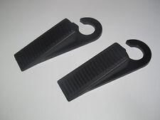 Lot x2 Bloc Cale Porte en Plastique Noir 10 cm avec Crochet de Rangement NEUF