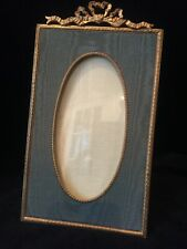 Fine Gilt Dore Bronze French Antique Photo Picture Frame with Green Moire Mat