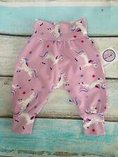 NEW Designer/Organic fabric Boys/Girls Harem Pants Age 0-3 months Unicorns Pink