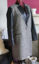 ZARA Black Cream Dogtooth Check Wool & Faux Leather Crombie Coat Size L 14 16