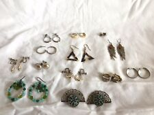 Set 14 Vintage Retro clip on & pierced earrings faux pearl metal diamante shell