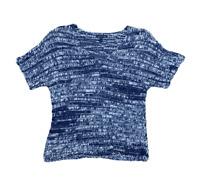 Eileen Fisher Women's Designer Blue Crochet Knit V Neck Blouse Top Shirt | XS