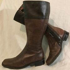 Jana Brown Mid Calf Leather Boots Size 4.5G (95vv)