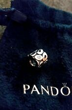 Authentic Pandora Sterling Silver And 14ct Gold Charm With 3 Sparkling Diamonds