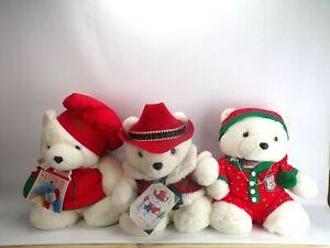 "Dayton Hudson Lot of 3: 1995 1995 1990 Christmas Santa Bears Vintage 18"""