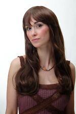 PERRUQUE pour femme long lisse léger ondulé marron brun moyen frange yzf41051-8