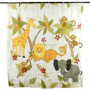 Kids Novelty JUNGLE Shower Curtain with Monkeys Lions Elephants and More 70 x 72