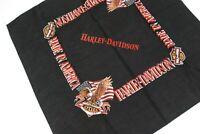 Vintage 90s Harley Davidson Motorcycles Biker Black Bandana Cotton Face Mask #60