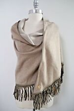 NEW LORO PIANA $3,550 Stola Oval BABY CASHMERE leather fringe trim scarf shawl